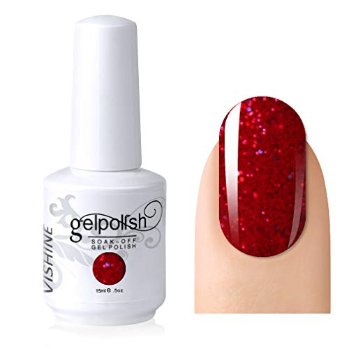 (Vishine Gelpolish Lacquer Shiny Color Soak Off UV LED Gel Nail Polish Professional Manicure Glitter Red(1550))