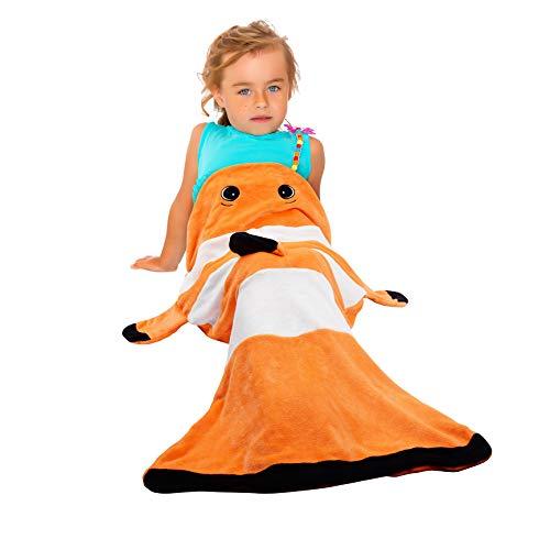 Catalonia Clownfish Tails Blanket,Super Soft Plush Kids Sleeping Blanket Bag for Toddler Children Teens Boys Girls,Gift Idea