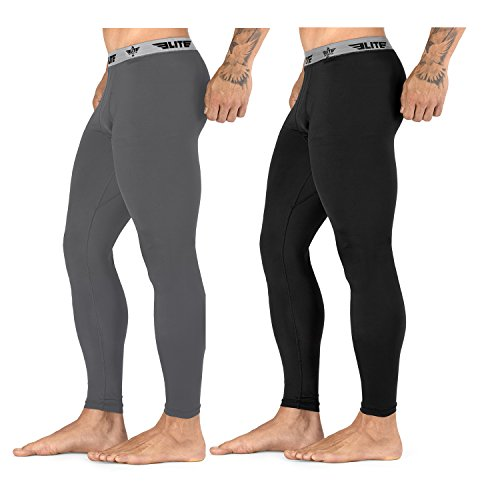 Mens Elite Pant - Elite Sports New Item Workout Standard MMA BJJ Spats Base Layer Compression Pants Tights (Black, Medium)