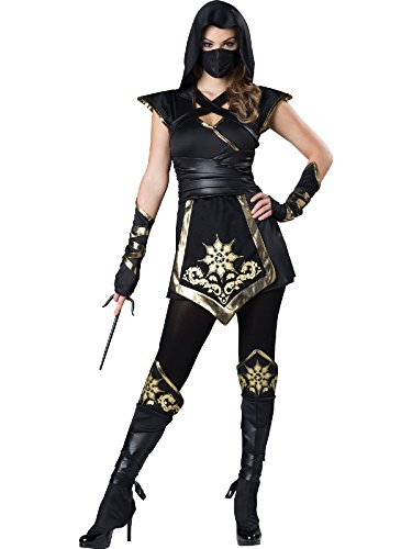 Mystique's Costume (Fun World Women's Ninja'S Mystique Costume, Black/Gold, M)