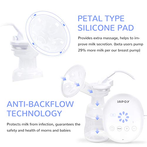 Electric Breast Pump - Breastfeeding Pump with Automatic Mode & Breast Massage HD LED Display Touch Screen - Electric Single Breast Pump BPA Free by iAPOY (Image #3)