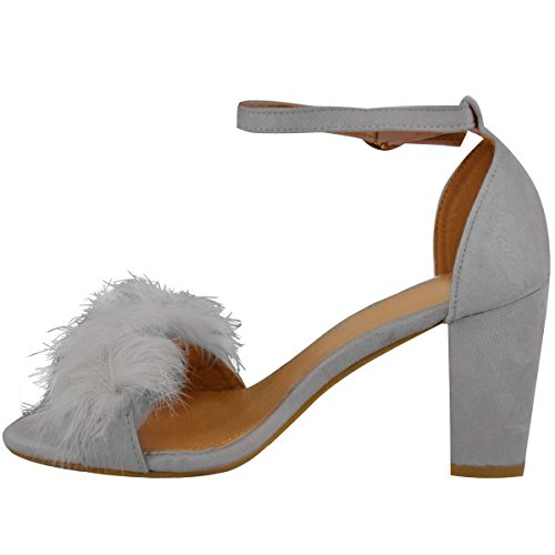 Fashion Thirsty Womens Ladies Faux Fur Fluffy Low Wedge Heel Sandals Strappy Party Shoes Size UK Grey Faux Suede WKQwzy