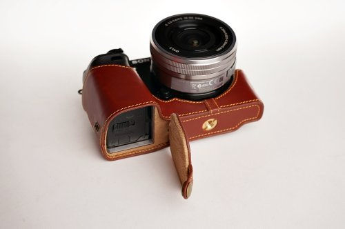 Handmade Genuine real Leather Half Camera Case bag cover for Sony A6000 Brown Bottom opening Version by TP