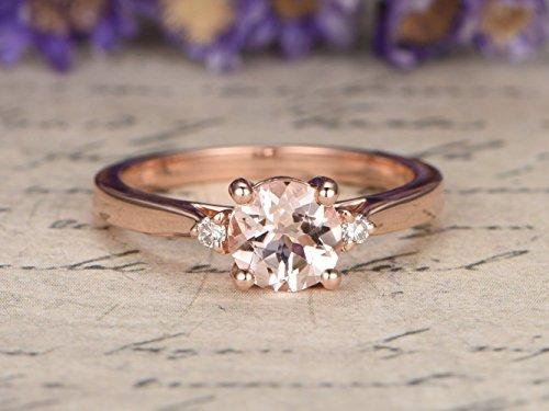 (Morganite Engagement Ring Round Cut 5mm VS Gemstone SI I-J Diamond Wedding Band 14k Rose Gold,Bridal Ring,Promise Ring)