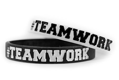 #TEAMWORK Inspirational Rubber Band Bracelets Silicone Wristbands Custom. Perfect for Football, Basketball, Team Sports & Office Environment. In Black and White (Jelly Bracelts)