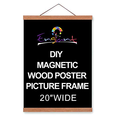 Magnetic Poster Hanger Frame, DIY Lightweight Wooden Picture Frame Hanger with Strong Magnet for Poster, Map, Photos, Paper Print, Oil Painting and Canvas Print, Easy to Operate 20 in (Brown, 20 inch)