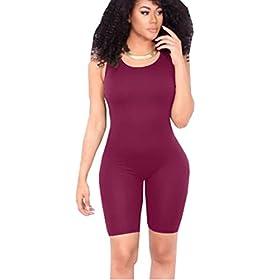 Icooltech Women Casual Sleeveless Bodycon Romper Jumpsuit Club Bodysuit Short Pants M Wine