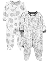 Simple Joys by Carter's Baby 2-Pack Fleece Footed Sleep and Play, Animals Green/Bears, 6-9 Months