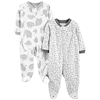 Simple Joys by Carter's Baby 2-Pack Fleece Footed Sleep and Play, Animals Green/Bears, 3-6 Months