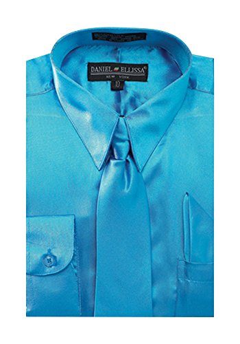 Boy's Satin Dress Shirt With Matching Tie and Hanky Set - Turquoise 12