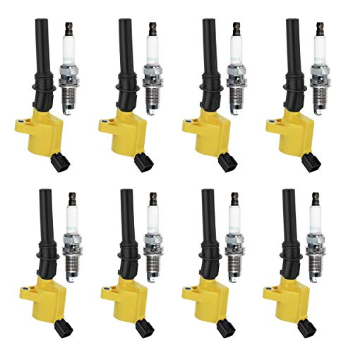 QYL Ignition Coil DG508 & Spark Plug SP493 7740 Replacement for F-150 Explorer Expedition Mustang Crown Victoria Lincoln Town Car Mercury Grand Marquis Mountaineer 5.4L 4.6L V8 (Set of 8 Yellow)