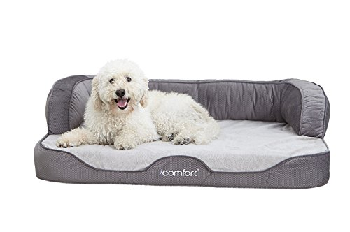 iComfort Sleeper Sofa Pet Bed with Dual Action Cool Effects Gel Memory Foam, X-Large, (Serta Memory Foam Bed)