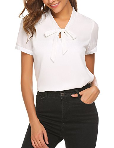 (ACEVOG Formal Shirt Womens Bow Tie Neck Short Sleeve Casual Work Chiffon Blouse Tops,White,XX-Large)