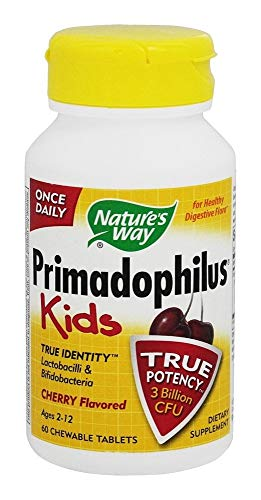 Nature's Way Primadophilus Kids Once Daily 3 Billion Probiotic, Cherry Flavored, 60 Chewables (Keep refrigerated to Maintain Maximum Potency.)