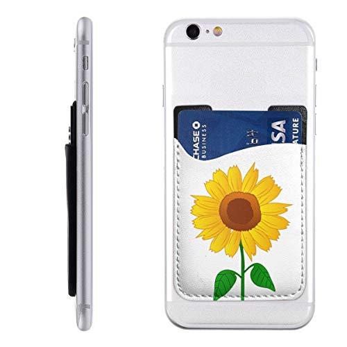 Sunflower Clipart Cell Phone Card Holder for Back of Phone Stick On Card Wallet Sticker ID Credit Card Wallet Phone Case Pouch Sleeve Pocket Compatible for iPhone/Android/Samsung Galaxy