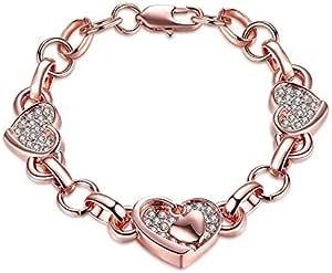 rose gold plated heart shape charm bracelet Swarovski elements diamond bangle for women