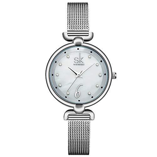 SHENGKE Creative Simplicity Women Watch Mesh Band Elegant Women Watches Ladies Business Wristwatch (K0002-Silver-Mesh - Wristwatches Ladies