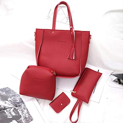 Outsta Backpack Bags Four Shoulder Set Black Messenger 4 Handbag Red Tote Classic Pieces Daypack Casual Wallet Bag Basic Travel Crossbody Women's fptOIqww