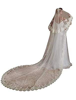 EllieHouse Women's Long 2 Tier Lace Wedding Bridal Veil With Metal Comb L70