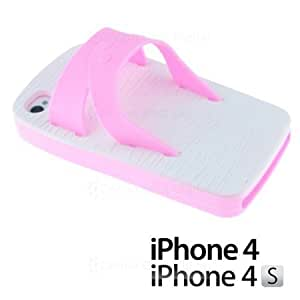 Cerhinu OnlineBestDigital - Slipper Style 3D Soft Silicone Case for Apple iPhone 4S / Apple iPhone 4 - Pink with 3 Screen...