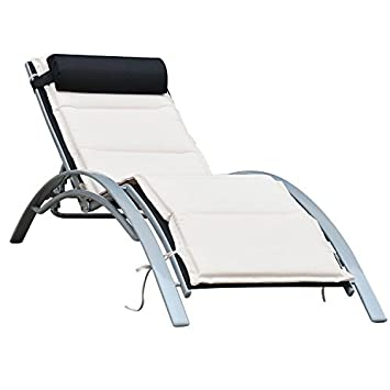 reclining chaise lounge. Outsunny Patio Reclining Chaise Lounge Chair With Cushion - Black And Cream White