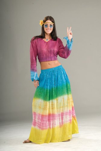 [Hippie Tye Dye Skirt] (Tie Dye Dress Costume)