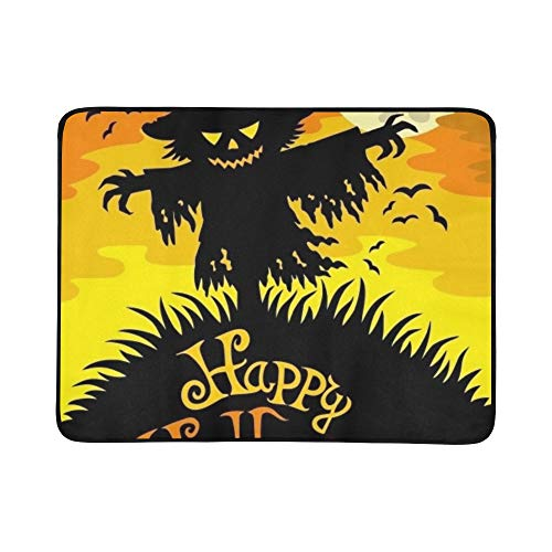 Happy Halloween Sign Scarecrow Illustration Portable and Foldable Blanket Mat 60x78 Inch Handy Mat for Camping Picnic Beach Indoor Outdoor Travel