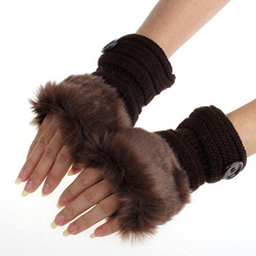 Bolayu Winter Mittens Women Warm Faux Rabbit Fur Wrist Fingerless Gloves (Coffee)