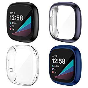 NANW 4-Pack Screen Protector Compatible with Fitbit Sense/Versa 3, Ultra-Thin Slim Soft TPU Protective Case All-Around Full Cover Bumper Shell for Versa 3 Smart Watch