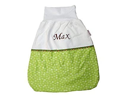 Saco de dormir Saco para bebé de 50 cm puntos verde claro con nombre bordado Stoff