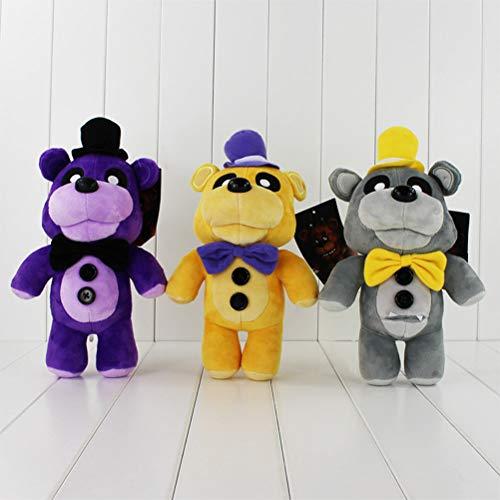 LQT Ltd 3 Colors Stuffed Animals Five Nights at Freddy's 4 FNAF Golden Gray Purple Freddy Fazbear Bear Stuffed Plush Toys Dolls for Boys and ()