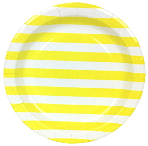 Just Artifacts Round Paper Party Plates 9-Inch (12pcs) - Lemon Yellow Striped - Decorative Tableware for Birthday Parties, Baby Showers, Grad Parties, Weddings, and Life Celebrations!
