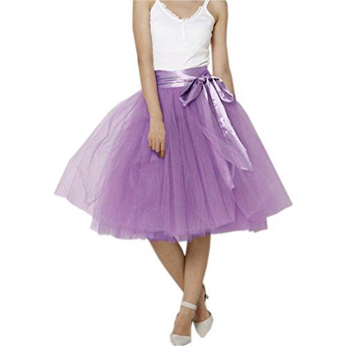 CoutureBridal Jupe Femme Courte avec N?ud Tutu Tulle Jupon Annes 50 Vintage 5 Couches de voile Violet