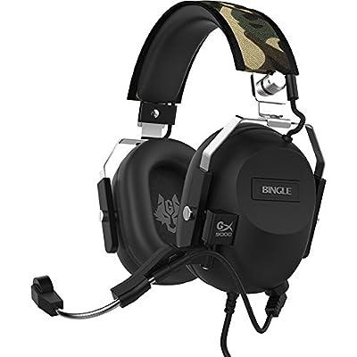 GranVela® Black Hawk Cruiser Virtual 7.1 Surround Sound USB Gaming Headset, Over Ear Noise Isolating VIB Vibration Bass PC Headphones with Microphone, Volume Control