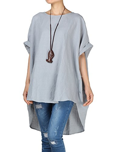 Mordenmiss Women's Summer Tee Shirt Oversized Top Hi-Low Tunic Style3 Gray L
