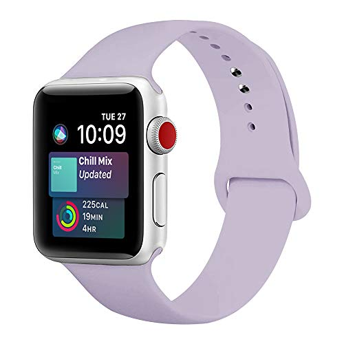 ENANYN Compatible Apple Watch Band 38mm 40mm 42mm 44mm Soft Silicone Sport Wrist Strap iWatch Replacement Wristbands for Apple Watch Series 4,3,2,1 S/M,M/L (Light Purple, 38mm/40mm S/M.)