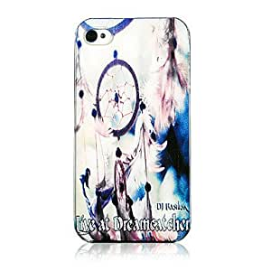 AES - Fashion Net And Feather Pattern Transparent Frame Back Case for iPhone 4/4S