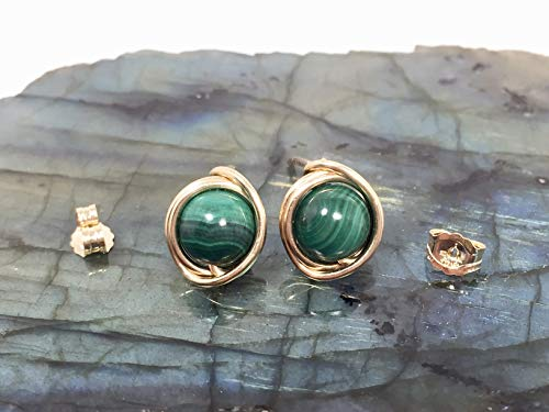 14k Malachite Stud - Malachite Stud Earring 14 K Gold Filled Wire And Backing Green Stud Malachite Stone Gift For Her