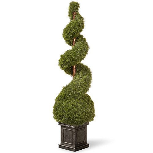 National Tree 48 Inch Cedar Spiral Tree with Ball in Black Square Pot (LCSB4-701-48) by National Tree Company