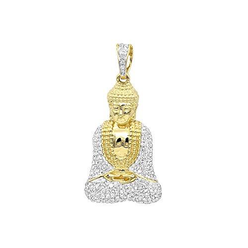 10K Rose, White or Yellow Solid Gold Diamond Buddha Pendant 0.5ctw (Yellow Gold) ()