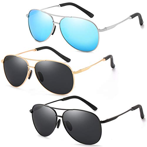 - 3 Pack Polarized Aviator Sunglasses for Men and Women 100% UV protection shades Mirrored Lens Metal Frame with Spring Hinges (Black+Gold+Blue)