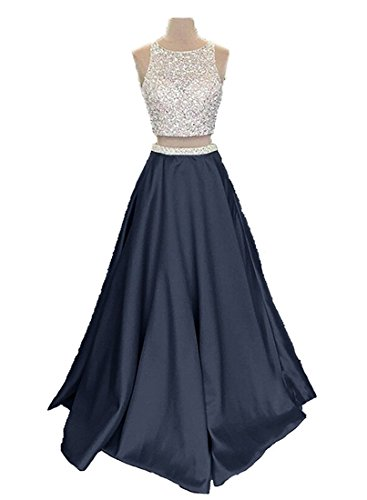 Pockets Satin 2018 Dresses Piece with Women Long Two Callmelady Prom Blue for Navy 8Yn6dTdq