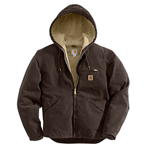 Carhartt Men's Big & Tall Sherpa Lined Sandstone Sierra Jacket J141,Dark Brown,Large Tall by Carhartt