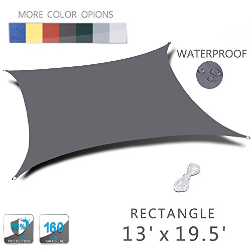 Love Story 13' x 19.5' Rectangle Charcoal Waterproof Sun Shade Sail Perfect for Outdoor Patio Garden