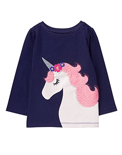 Gymboree Toddler Girls Long Sleeve Graphic Tee  Ocean Trench  5T