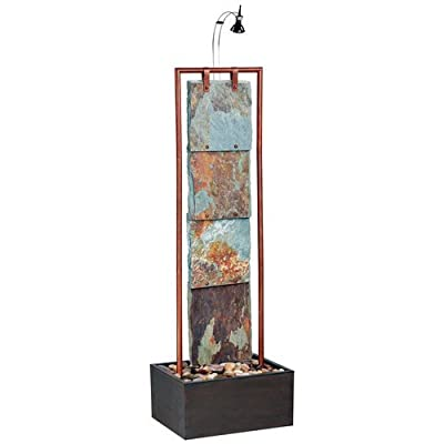 Kenroy Home #50151COP Montpelier Indoor Floor Fountain in Natural Slate with Copper Finish