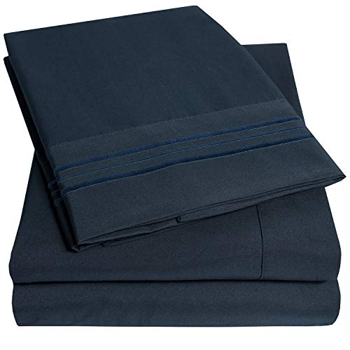 1500 Supreme Collection Extra Soft Twin XL Sheets Set, Navy Blue - Luxury Bed Sheets Set with Deep Pocket Wrinkle Free Hypoallergenic Bedding, Over 40 Colors, Twin XL Size, Navy