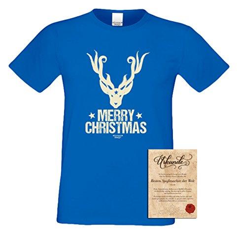 T-Shirt - Merry Christmas Rentier Print Shirt Farbe royal - Weihnachtsshirt als Outfit für die Festtage
