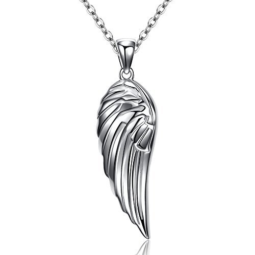 925 Sterling Silver Costume Jewelry - Guardian Angel Wings Pendant Necklace Sterling Silver 925 Adjustable Cable Chain 16in+2in Extender
