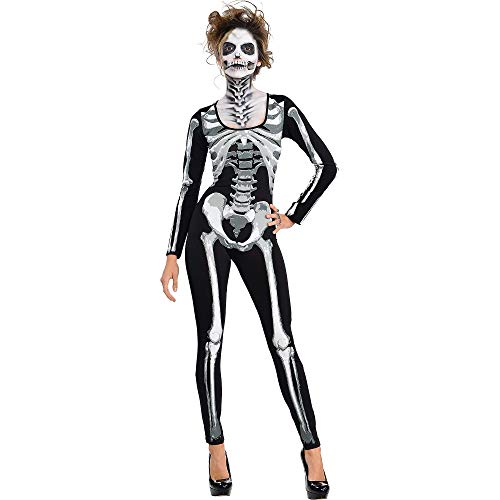 Adult Women Skeleton Costume (AMSCAN Black & Bone Catsuit- Skeleton for Women, One)